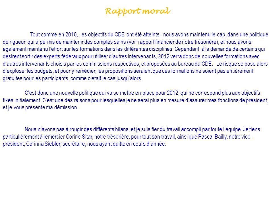 Rapport moral Tout comme en 2010, les objectifs du CDE ont été atteints : nous avons maintenu le cap, dans une politique de rigueur, qui a permis de m