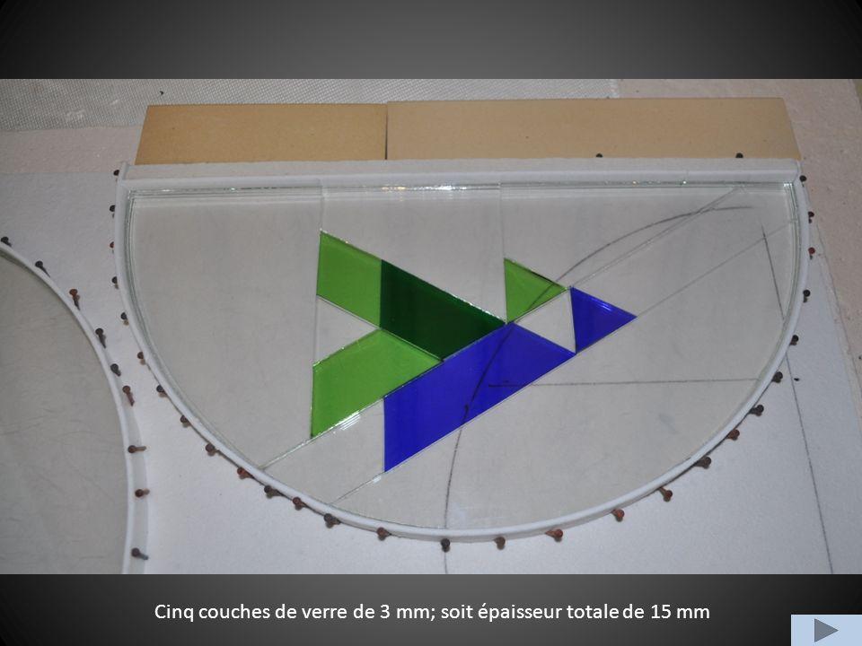 Cinq couches de verre de 3 mm; soit épaisseur totale de 15 mm
