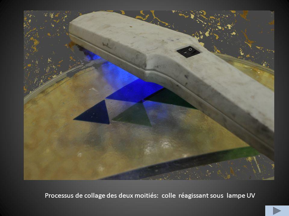 Processus de collage des deux moitiés: colle réagissant sous lampe UV