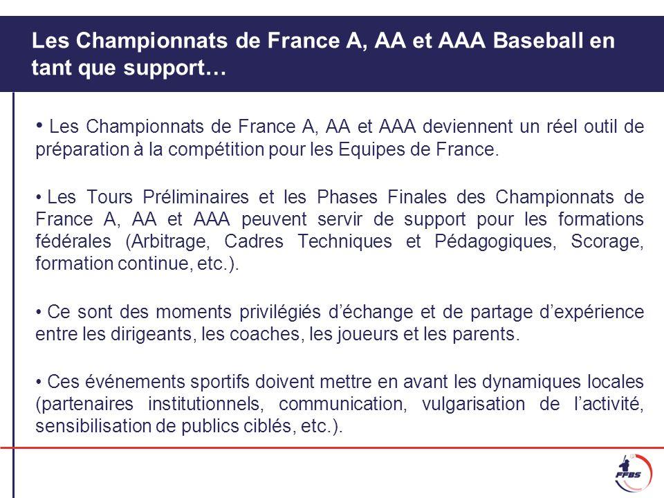 Les Championnats de France A, AA et AAA Baseball en tant que support… Les Championnats de France A, AA et AAA deviennent un réel outil de préparation à la compétition pour les Equipes de France.