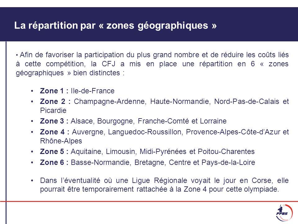 La répartition par « zones géographiques » Afin de favoriser la participation du plus grand nombre et de réduire les coûts liés à cette compétition, l