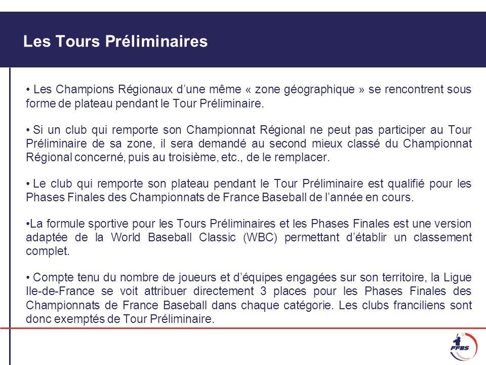 Les Tours Préliminaires Les Champions Régionaux dune même « zone géographique » se rencontrent sous forme de plateau pendant le Tour Préliminaire. Si