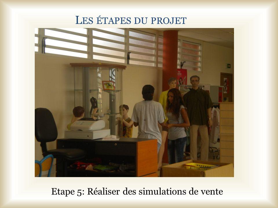 L ES ÉTAPES DU PROJET Etape 5: Réaliser des simulations de vente