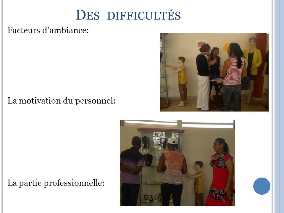D ES DIFFICULTÉS Facteurs dambiance: La motivation du personnel: La partie professionnelle: