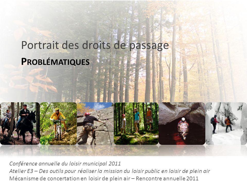 P ROBLÉMATIQUES Portrait des droits de passage Conférence annuelle du loisir municipal 2011 Atelier E3 – Des outils pour réaliser la mission du loisir