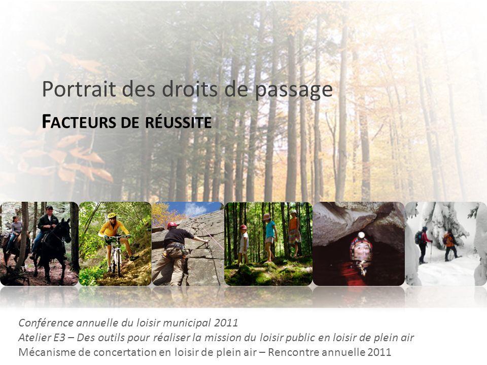 F ACTEURS DE RÉUSSITE Portrait des droits de passage Conférence annuelle du loisir municipal 2011 Atelier E3 – Des outils pour réaliser la mission du