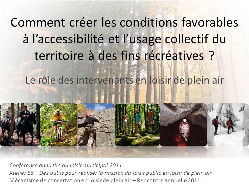 Comment créer les conditions favorables à laccessibilité et lusage collectif du territoire à des fins récréatives ? Le rôle des intervenants en loisir
