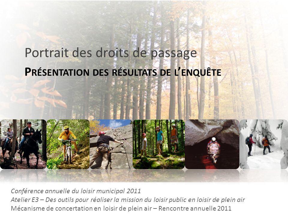 P RÉSENTATION DES RÉSULTATS DE L ENQUÊTE Portrait des droits de passage Conférence annuelle du loisir municipal 2011 Atelier E3 – Des outils pour réal