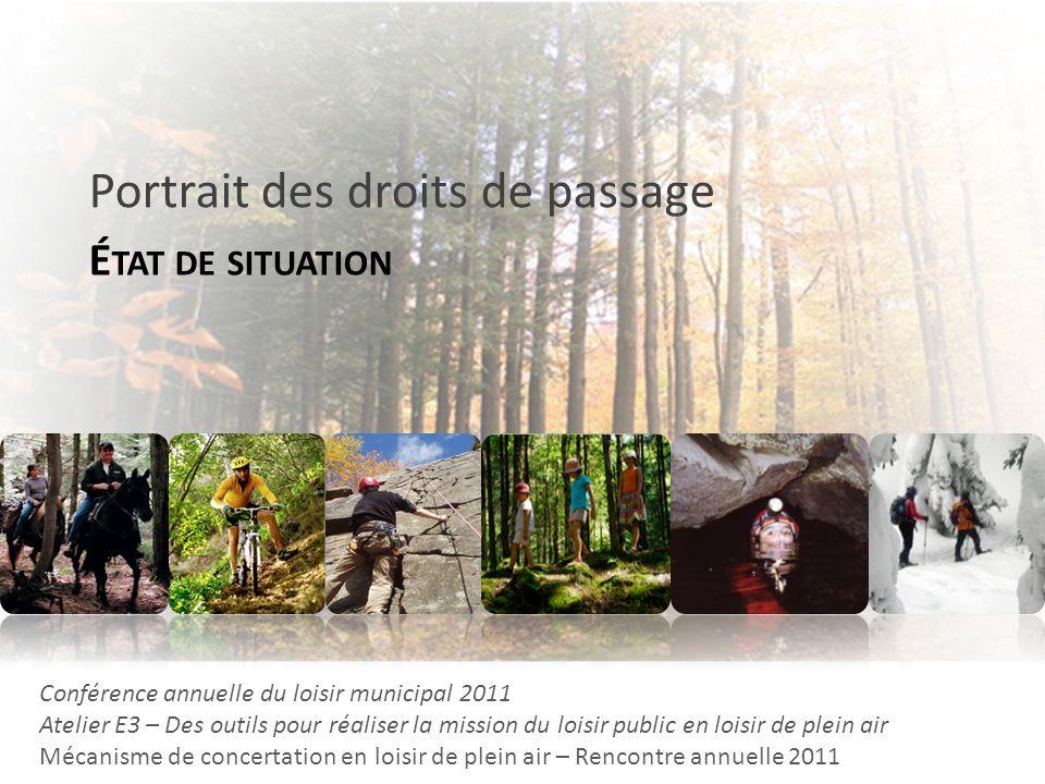 É TAT DE SITUATION Portrait des droits de passage Conférence annuelle du loisir municipal 2011 Atelier E3 – Des outils pour réaliser la mission du loi