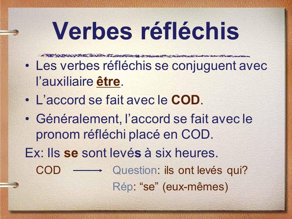 Verbes réfléchis Les verbes réfléchis se conjuguent avec lauxiliaire être. Laccord se fait avec le COD. Généralement, laccord se fait avec le pronom r