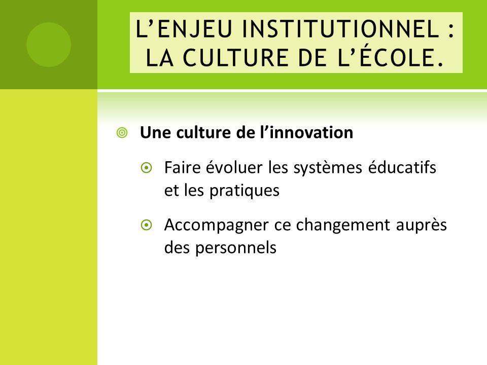 Une culture de linnovation Faire évoluer les systèmes éducatifs et les pratiques Accompagner ce changement auprès des personnels LENJEU INSTITUTIONNEL : LA CULTURE DE LÉCOLE.