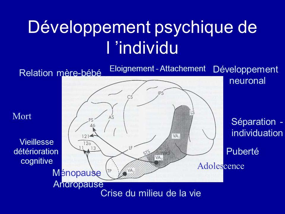 Développement psychique de l individu Relation mère-bébé Eloignement - Attachement Développement neuronal Séparation - individuation Adolescence Puber