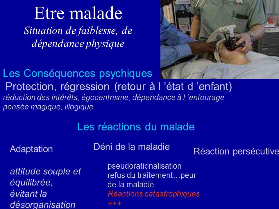 Etre malade Situation de faiblesse, de dépendance physique Les Conséquences psychiques Protection, régression (retour à l état d enfant) réduction des