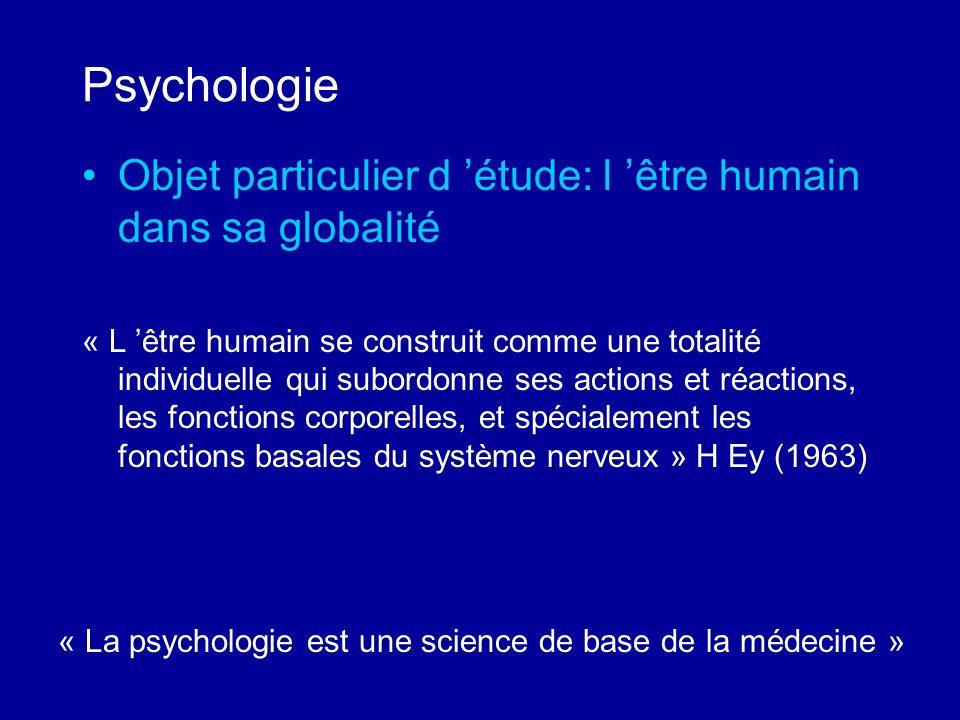 Psychologie Objet particulier d étude: l être humain dans sa globalité « L être humain se construit comme une totalité individuelle qui subordonne ses
