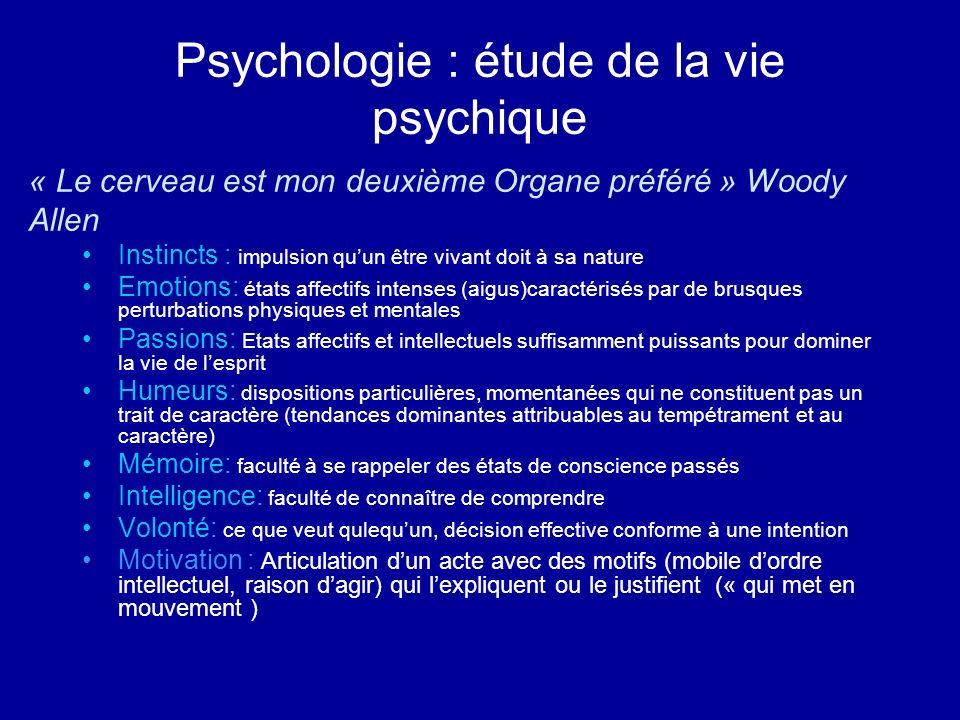 Psychologie : étude de la vie psychique Instincts : impulsion quun être vivant doit à sa nature Emotions: états affectifs intenses (aigus)caractérisés