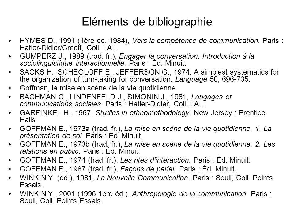Eléments de bibliographie HYMES D., 1991 (1ère éd. 1984), Vers la compétence de communication. Paris : Hatier-Didier/Crédif, Coll. LAL. GUMPERZ J., 19