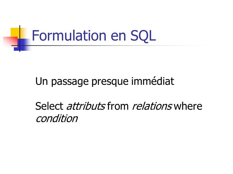Formulation en SQL Un passage presque immédiat Select attributs from relations where condition