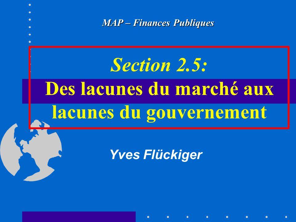Section 2.5: Des lacunes du marché aux lacunes du gouvernement MAP – Finances Publiques Yves Flückiger