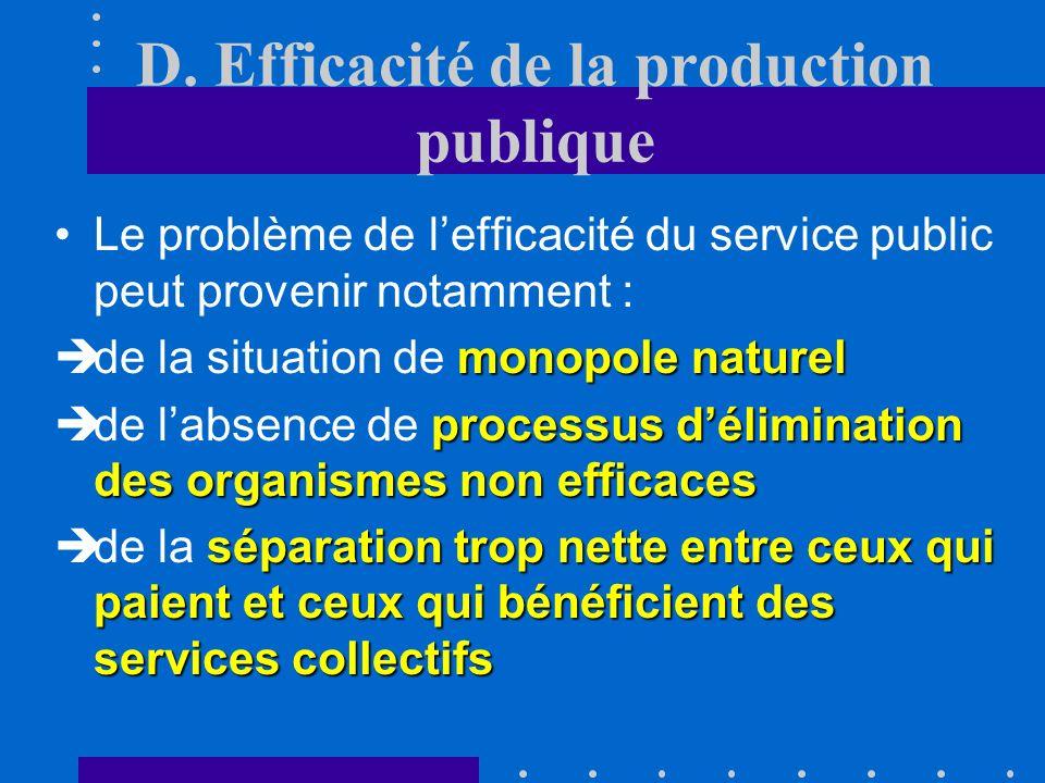 D. Efficacité de la production publique loutput du secteur publicCette question est particulièrement délicate à analyser car il est difficile de mesur