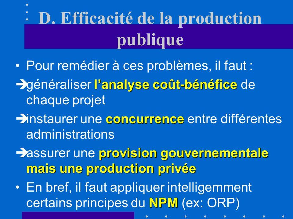D. Efficacité de la production publique Le problème de lefficacité du service public peut provenir notamment : monopole naturel de la situation de mon