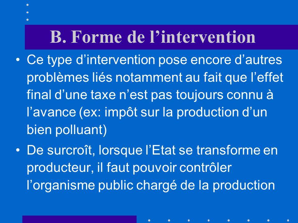B. Forme de lintervention Cette forme dintervention a un impact direct sur la taille du budget que ce soit au niveau des recettes ou des dépenses Elle