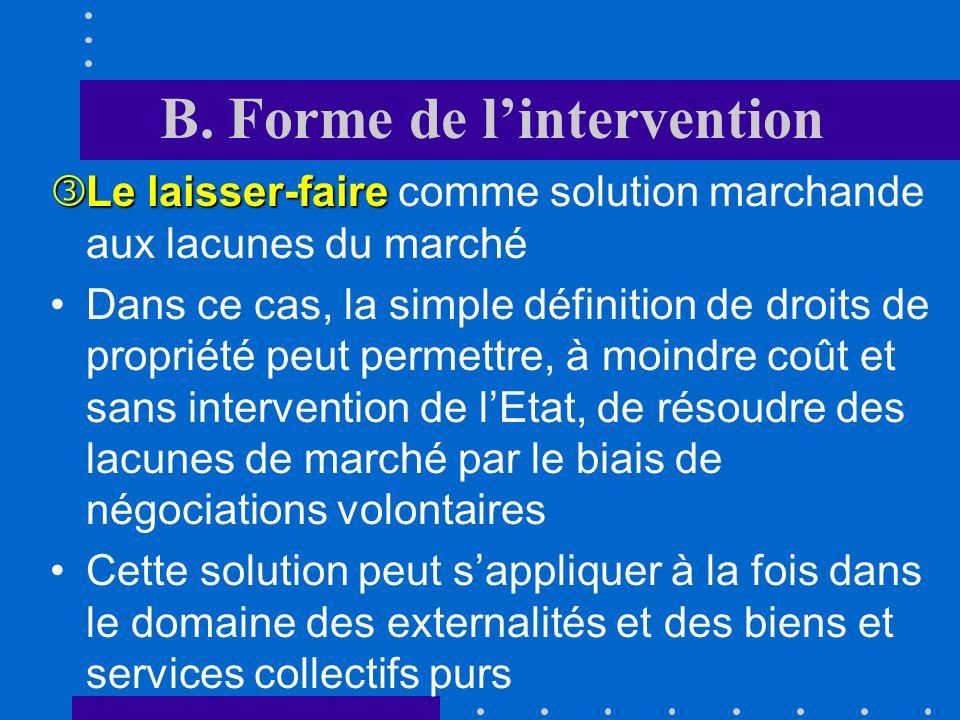 B. Forme de lintervention Ce type dintervention pose encore dautres problèmes liés notamment au fait que leffet final dune taxe nest pas toujours conn