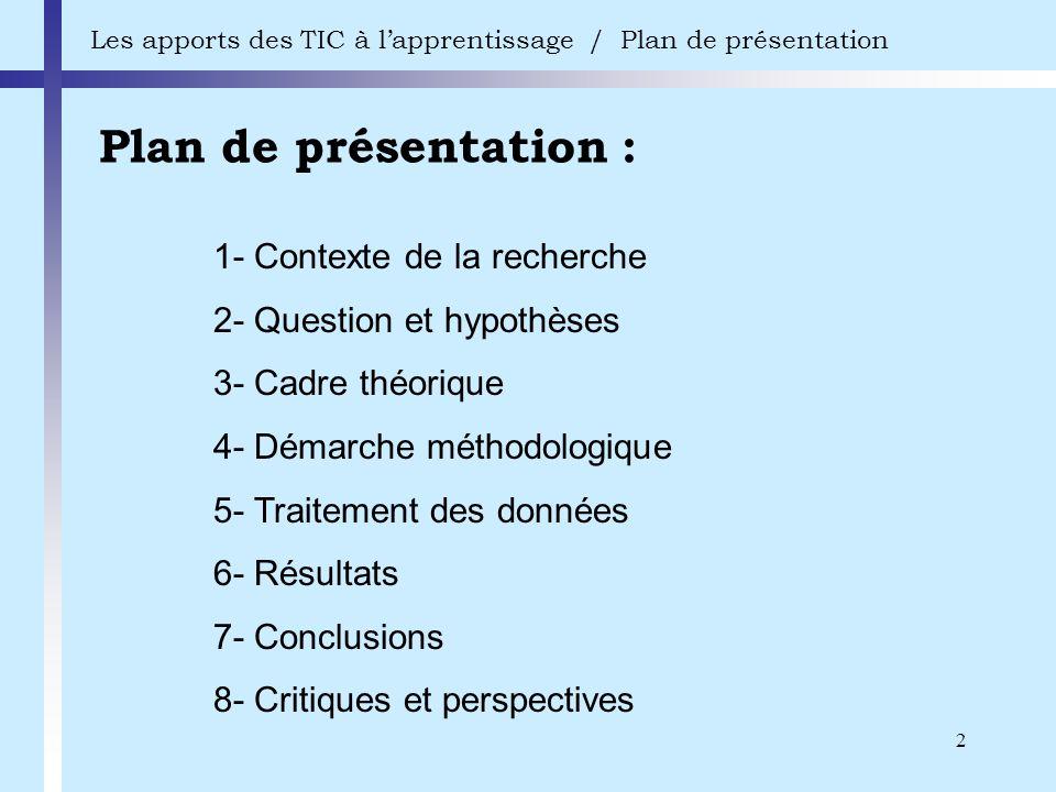 2 Plan de présentation : Les apports des TIC à lapprentissage / Plan de présentation 1- Contexte de la recherche 2- Question et hypothèses 3- Cadre th