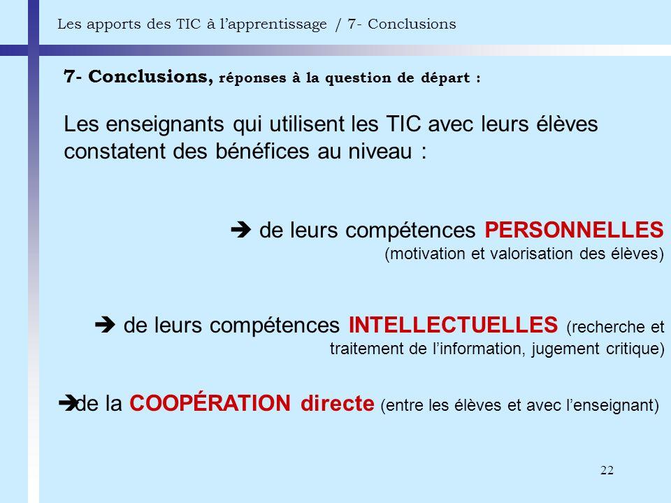 22 7- Conclusions, réponses à la question de départ : Les apports des TIC à lapprentissage / 7- Conclusions Les enseignants qui utilisent les TIC avec