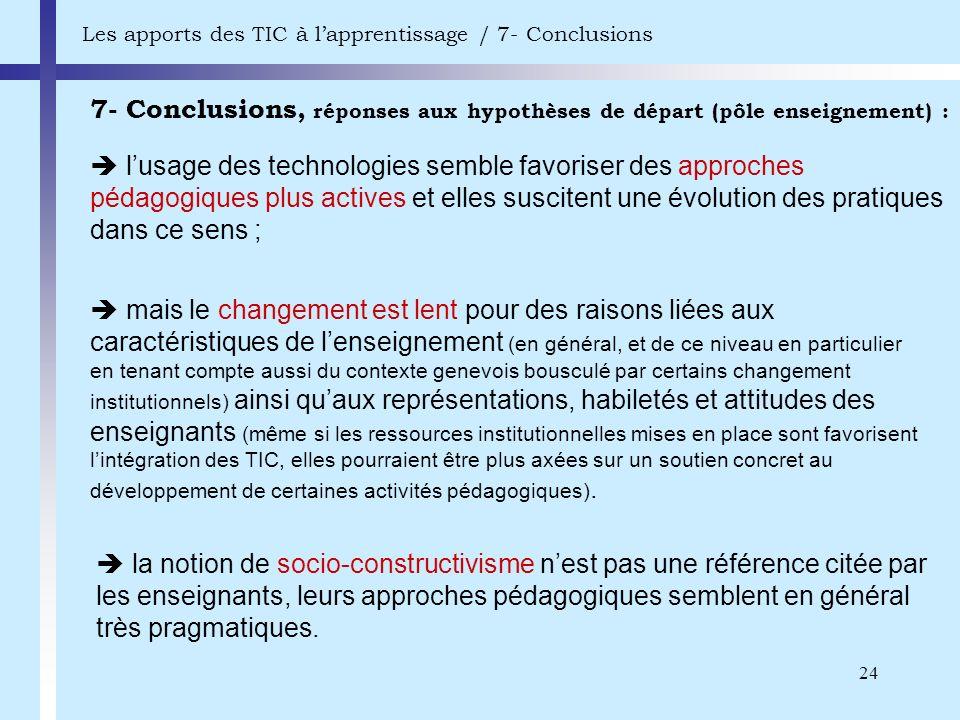 24 7- Conclusions, réponses aux hypothèses de départ (pôle enseignement) : Les apports des TIC à lapprentissage / 7- Conclusions lusage des technologi
