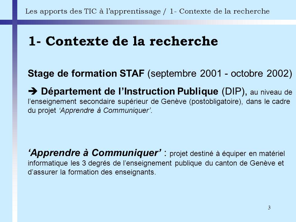 3 1- Contexte de la recherche Les apports des TIC à lapprentissage / 1- Contexte de la recherche Stage de formation STAF (septembre 2001 - octobre 200