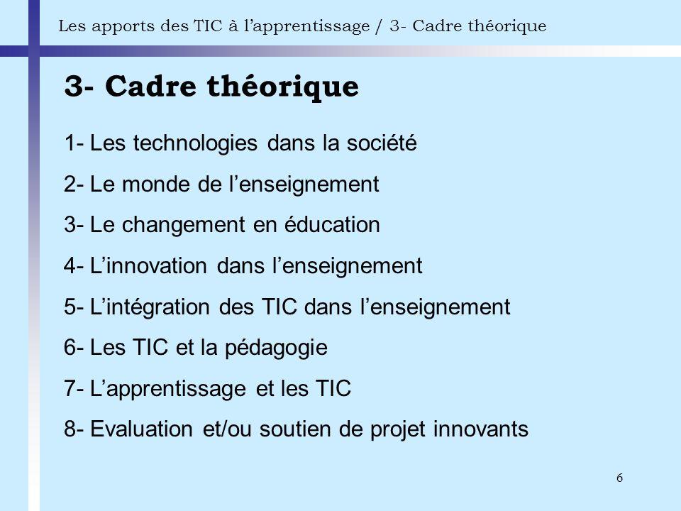 6 3- Cadre théorique Les apports des TIC à lapprentissage / 3- Cadre théorique 1- Les technologies dans la société 2- Le monde de lenseignement 3- Le