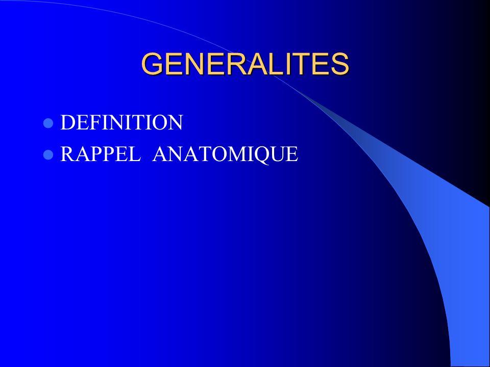 GENERALITES DEFINITION RAPPEL ANATOMIQUE
