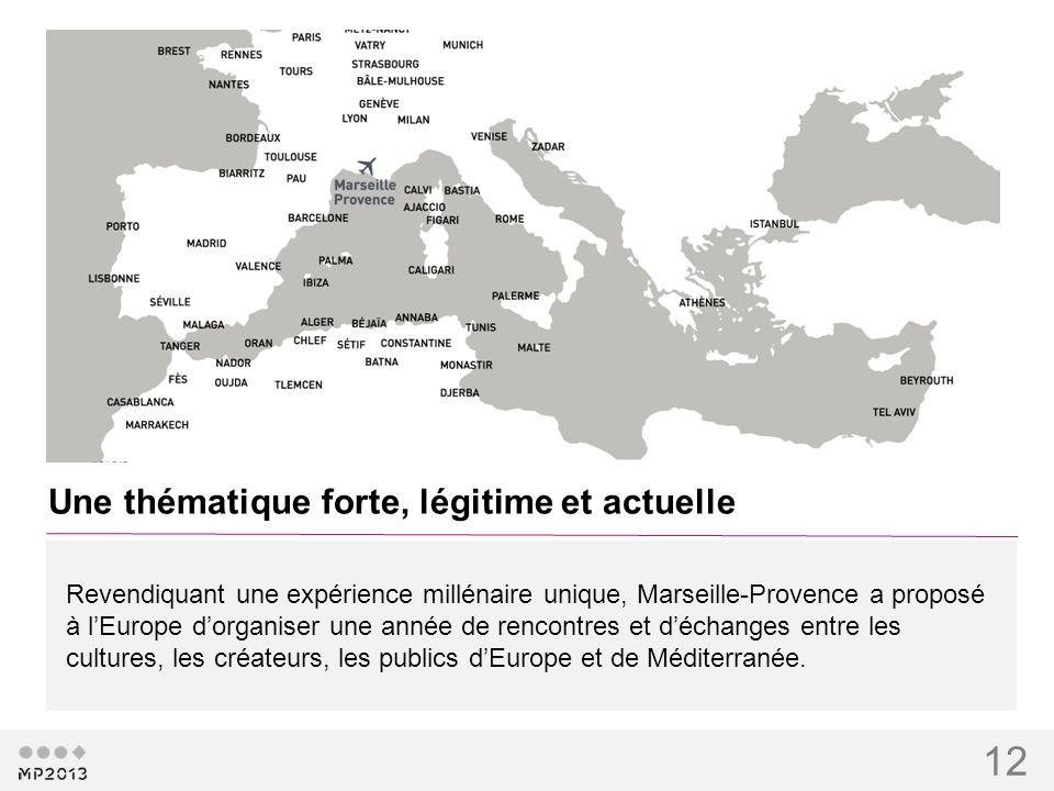 12 Une thématique forte, légitime et actuelle Revendiquant une expérience millénaire unique, Marseille-Provence a proposé à lEurope dorganiser une ann