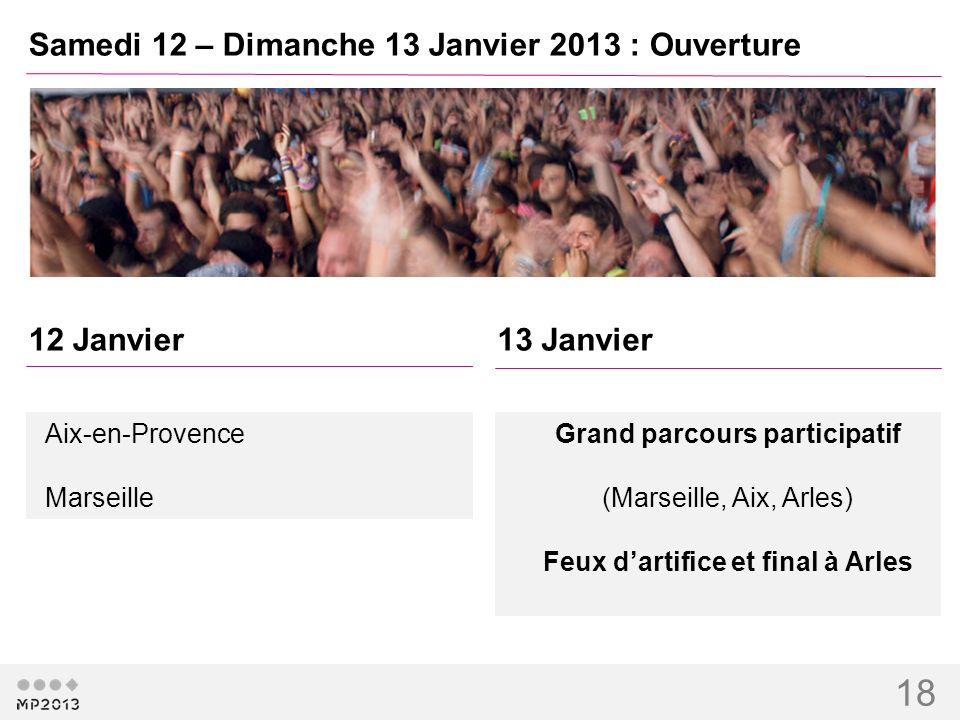 18 Samedi 12 – Dimanche 13 Janvier 2013 : Ouverture 12 Janvier13 Janvier Grand parcours participatif (Marseille, Aix, Arles) Feux dartifice et final à