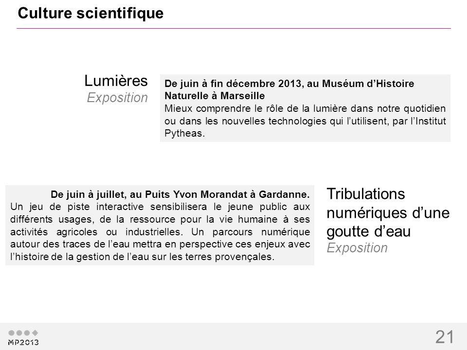 21 Culture scientifique De juin à fin décembre 2013, au Muséum dHistoire Naturelle à Marseille Mieux comprendre le rôle de la lumière dans notre quoti