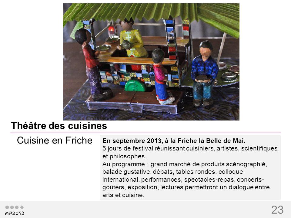 23 Théâtre des cuisines En septembre 2013, à la Friche la Belle de Mai. 5 jours de festival réunissant cuisiniers, artistes, scientifiques et philosop