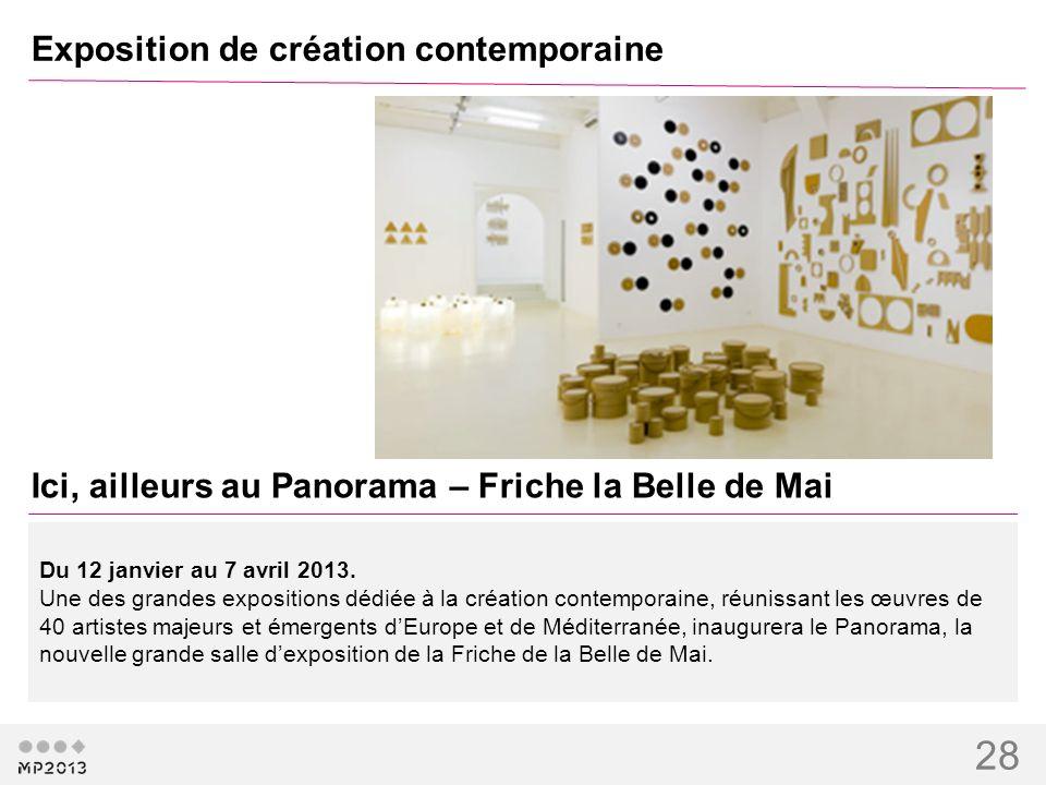 28 Exposition de création contemporaine Ici, ailleurs au Panorama – Friche la Belle de Mai Du 12 janvier au 7 avril 2013. Une des grandes expositions