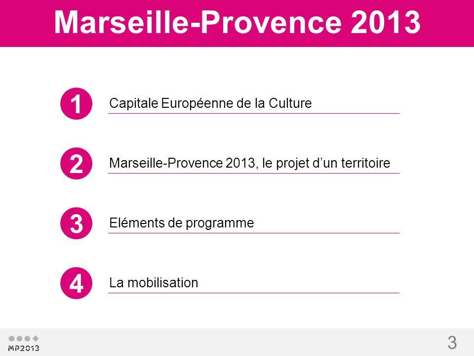 3 Capitale Européenne de la Culture Marseille-Provence 2013 Marseille-Provence 2013, le projet dun territoire Eléments de programme La mobilisation 1
