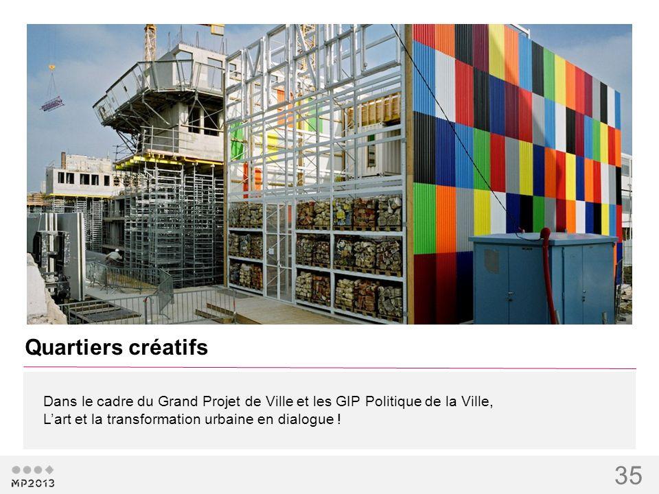 35 Dans le cadre du Grand Projet de Ville et les GIP Politique de la Ville, Lart et la transformation urbaine en dialogue ! Quartiers créatifs