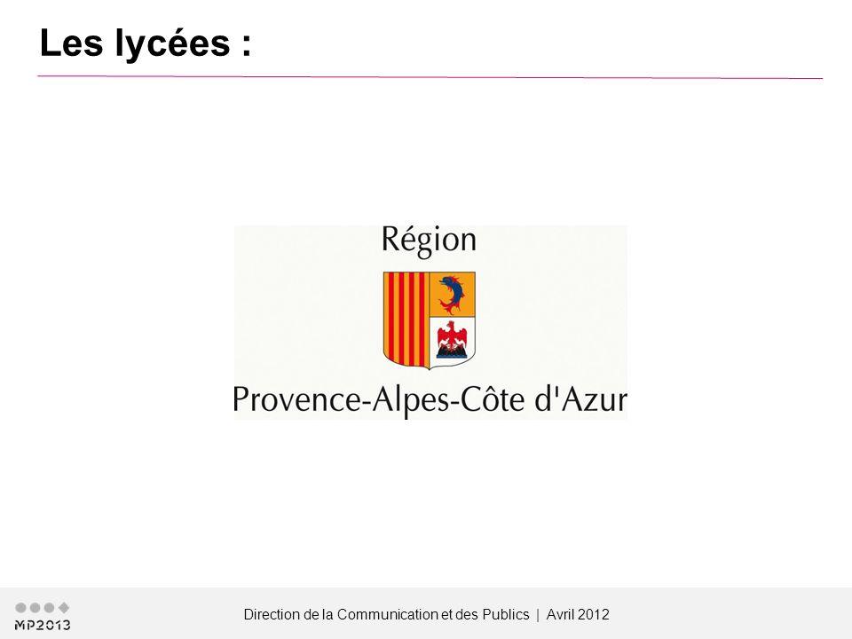 Direction de la Communication et des Publics | Avril 2012 Les lycées :