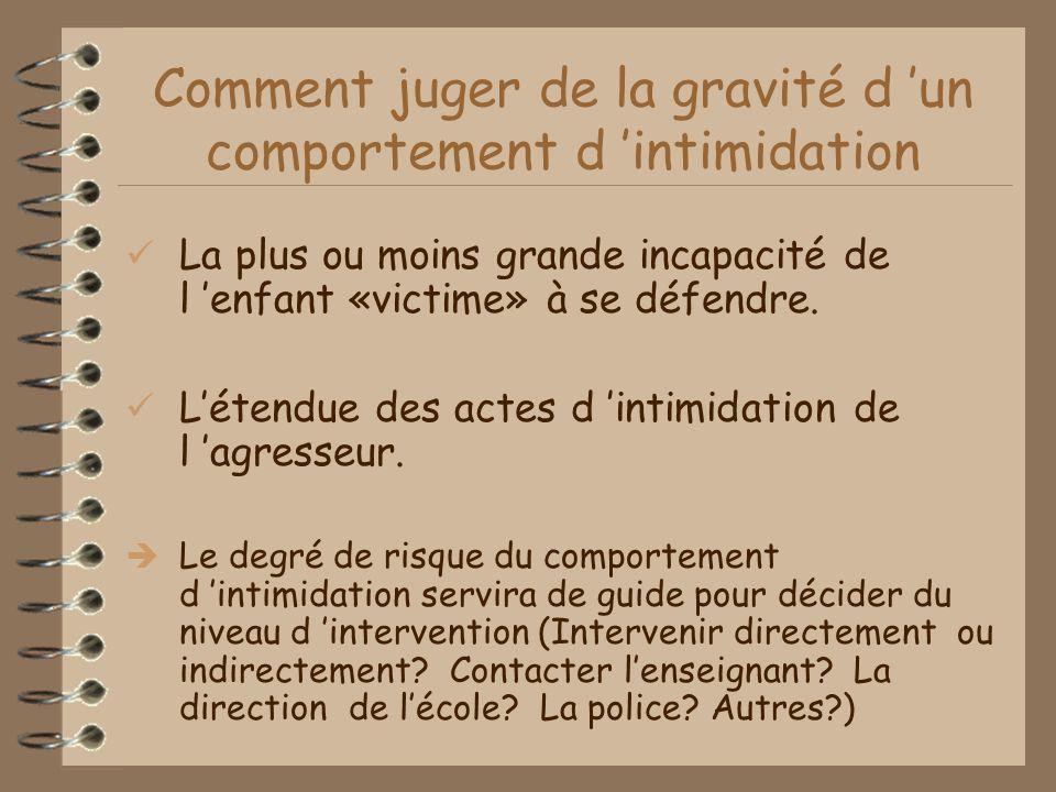 Comment juger de la gravité d un comportement d intimidation La plus ou moins grande incapacité de l enfant «victime» à se défendre.