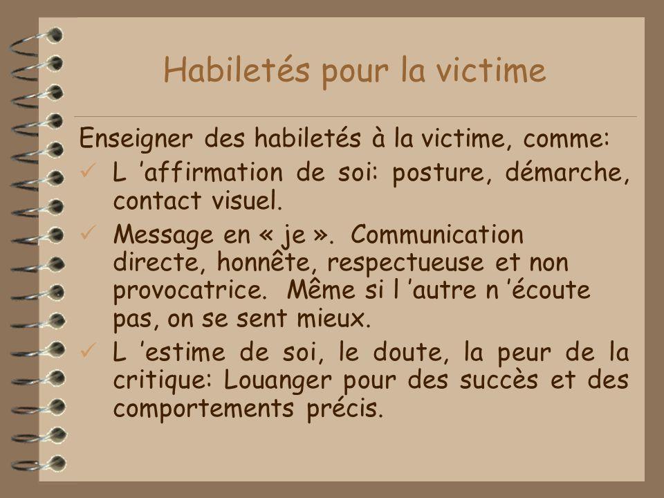 Habiletés pour la victime Enseigner des habiletés à la victime, comme: L affirmation de soi: posture, démarche, contact visuel.