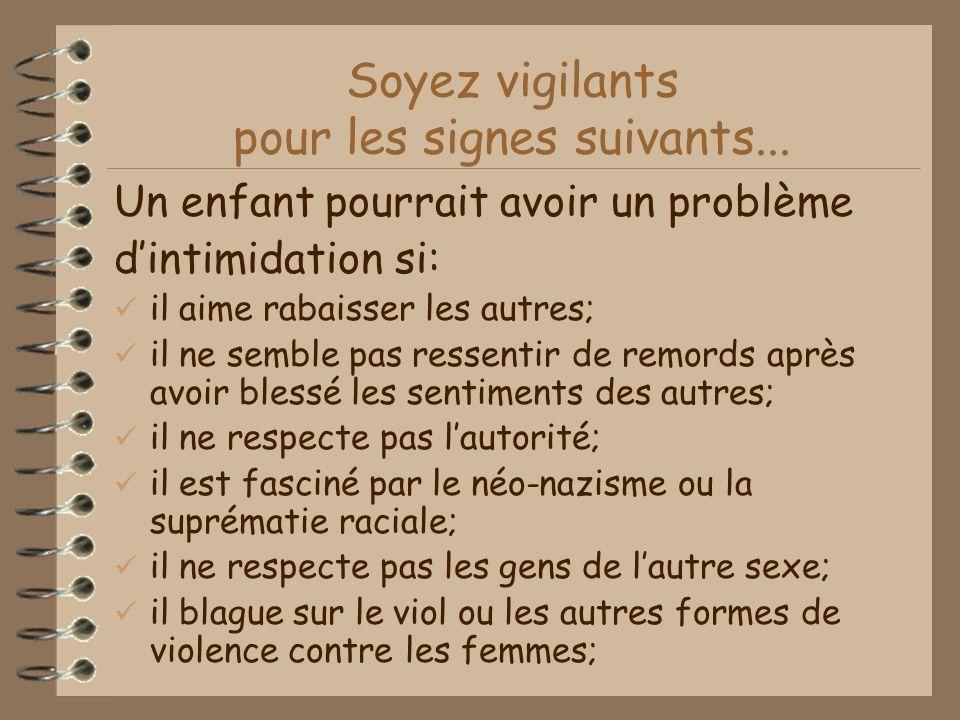 Soyez vigilants pour les signes suivants...