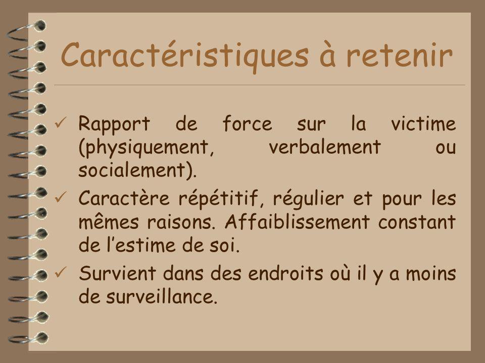 Caractéristiques à retenir Rapport de force sur la victime (physiquement, verbalement ou socialement).
