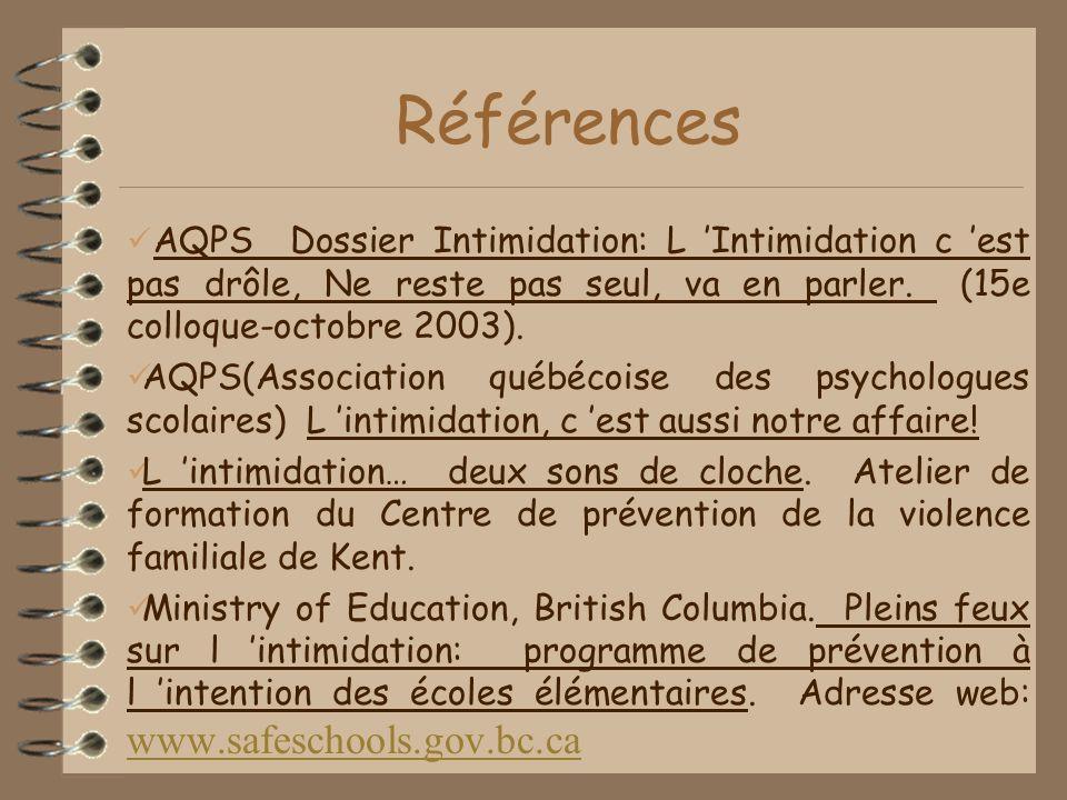 Références AQPS Dossier Intimidation: L Intimidation c est pas drôle, Ne reste pas seul, va en parler.