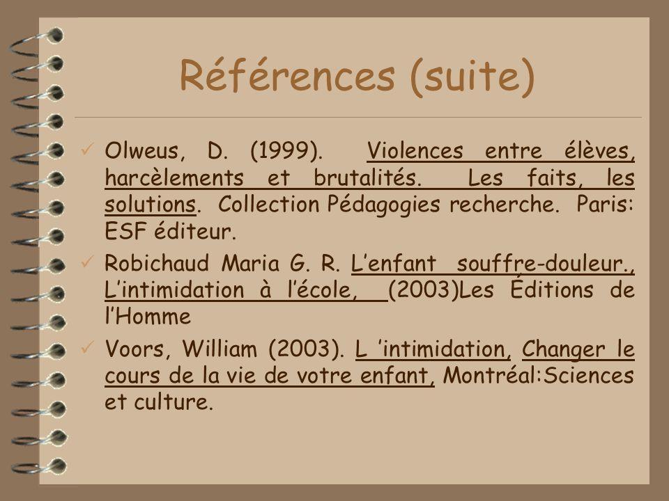 Références (suite) Olweus, D.(1999). Violences entre élèves, harcèlements et brutalités.