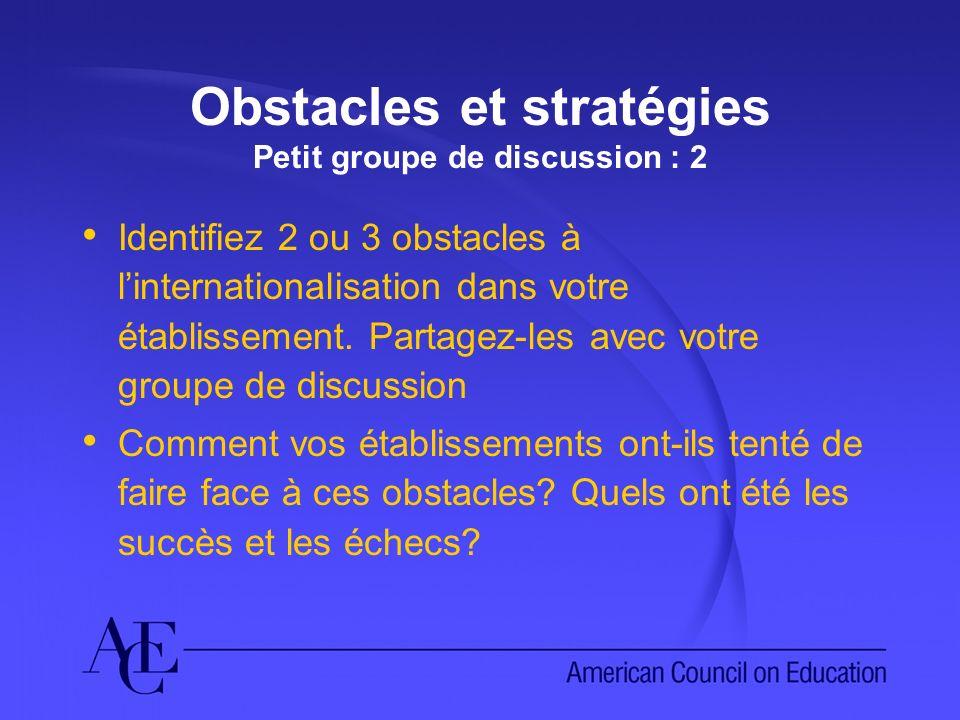Obstacles et stratégies Petit groupe de discussion : 2 Identifiez 2 ou 3 obstacles à linternationalisation dans votre établissement. Partagez-les avec