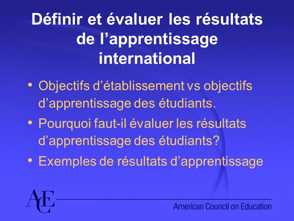 Définir et évaluer les résultats de lapprentissage international Objectifs détablissement vs objectifs dapprentissage des étudiants. Pourquoi faut-il