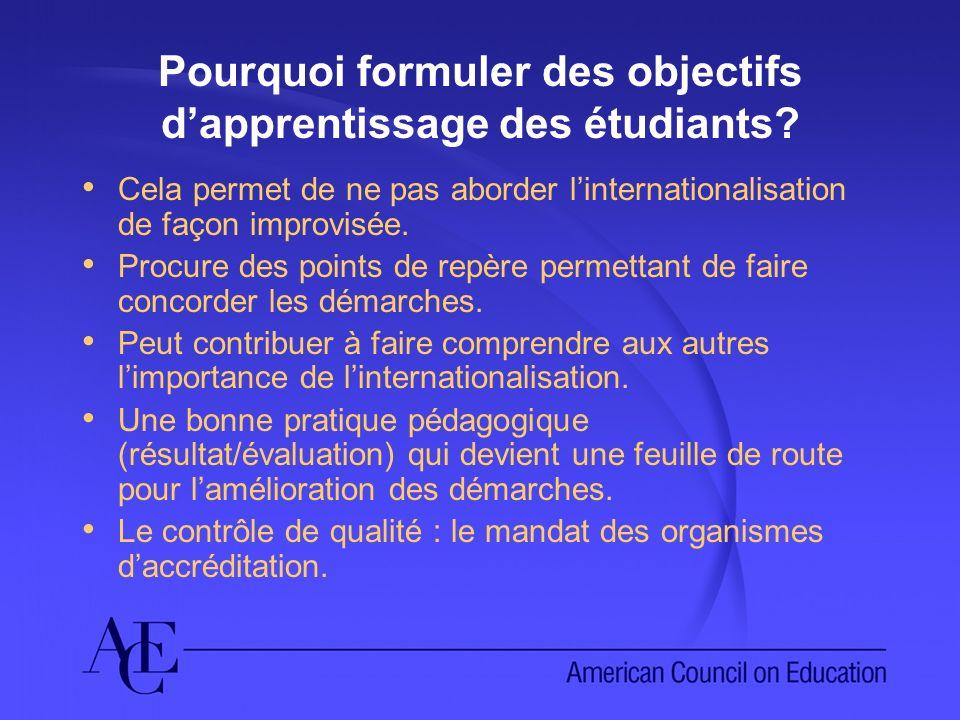Pourquoi formuler des objectifs dapprentissage des étudiants? Cela permet de ne pas aborder linternationalisation de façon improvisée. Procure des poi