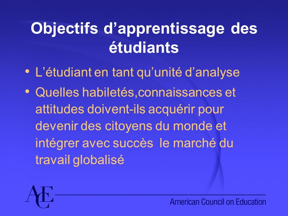 Objectifs dapprentissage des étudiants Létudiant en tant quunité danalyse Quelles habiletés,connaissances et attitudes doivent-ils acquérir pour devenir des citoyens du monde et intégrer avec succès le marché du travail globalisé